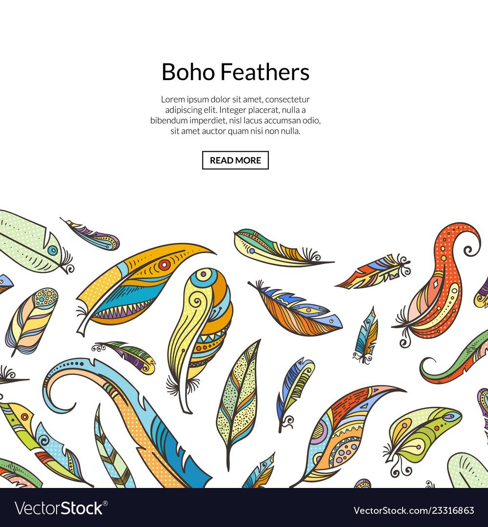 Boho doodle feathers background