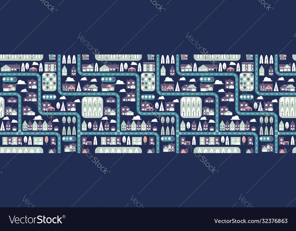 City seamless pattern top view flat design