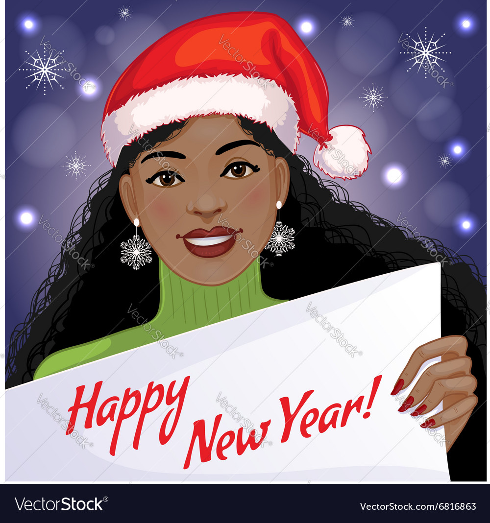 Cute African American Girl With New Year Greetings Vector Image On Vectorstock