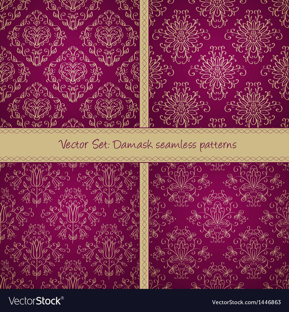 Damask festive seamless goden pattern