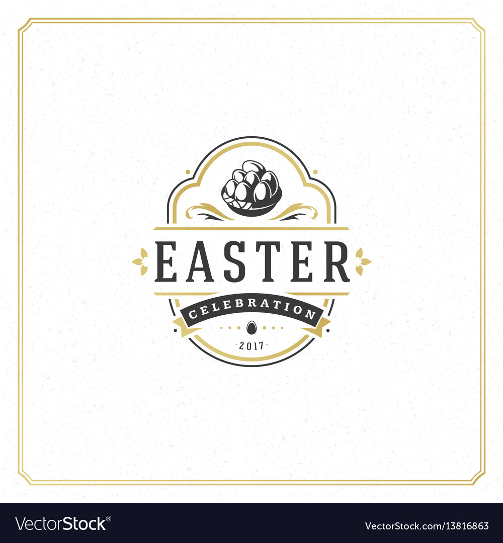 Easter greeting card text template and badge