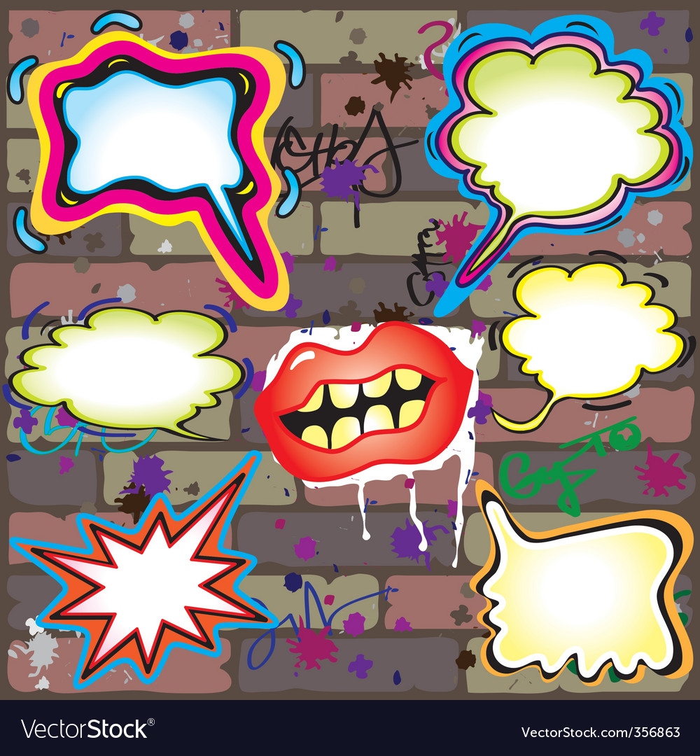Graffiti thought bubbles vector image