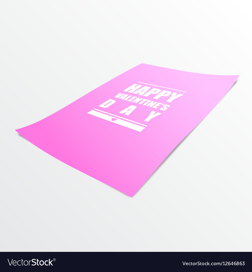 Happy Valentines Day on Pink Paper Realistic 3D vector image