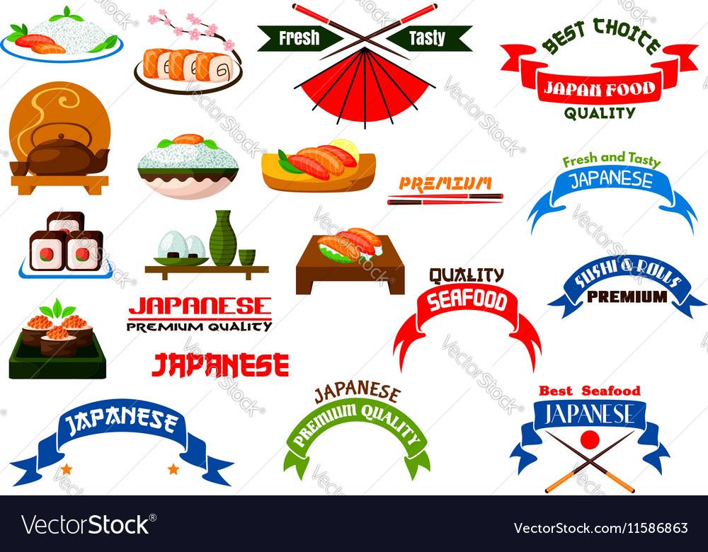 Japanese cuisine sushi icons set vector image