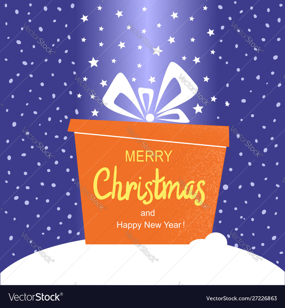 Merry christmas card with present gift and