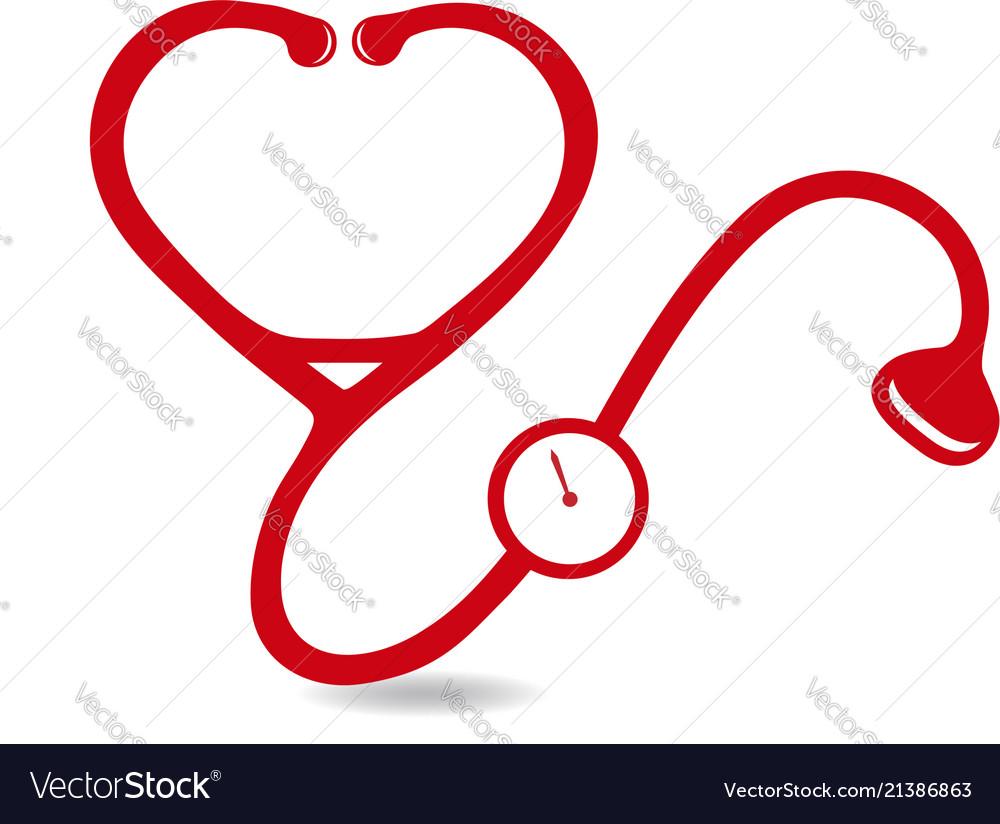 Red stethoscope health icon logo