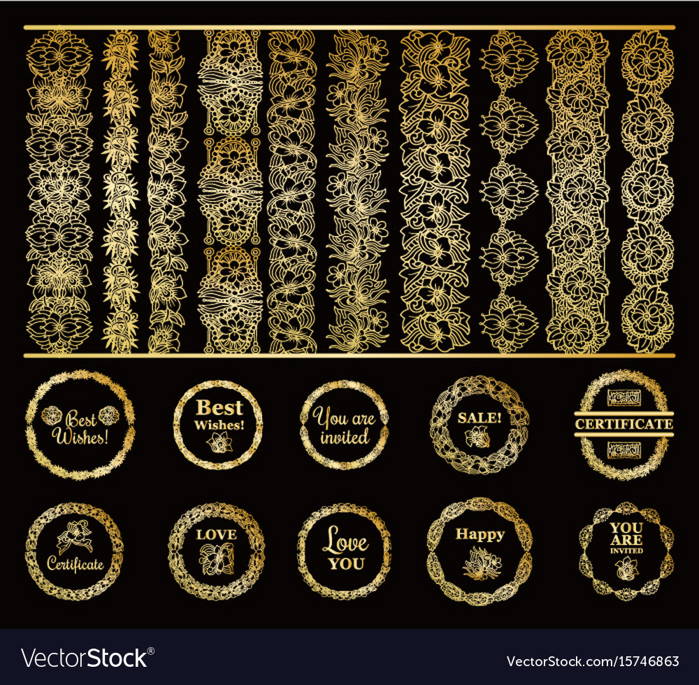 Round gold borders and golden frames set on the vector image thecheapjerseys Images