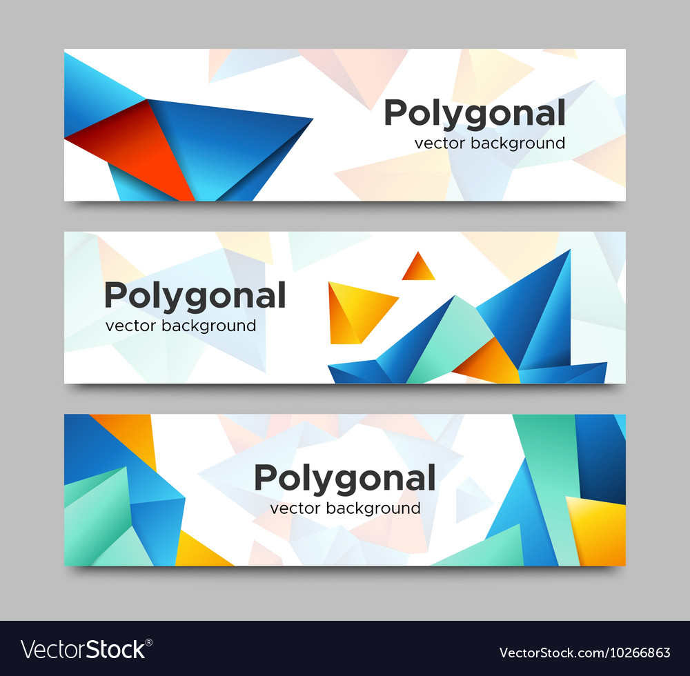 Set of horizontal polygonal banners