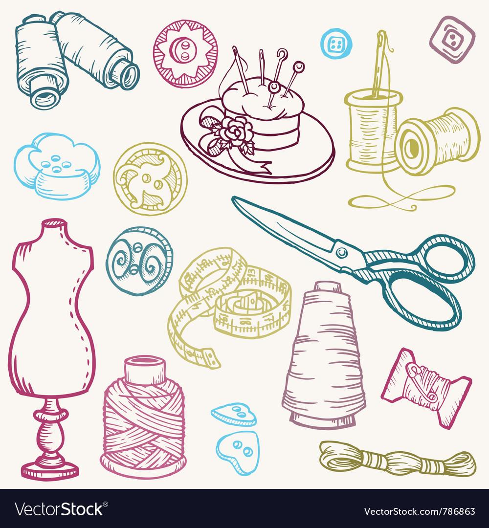 Sewing kit doodles