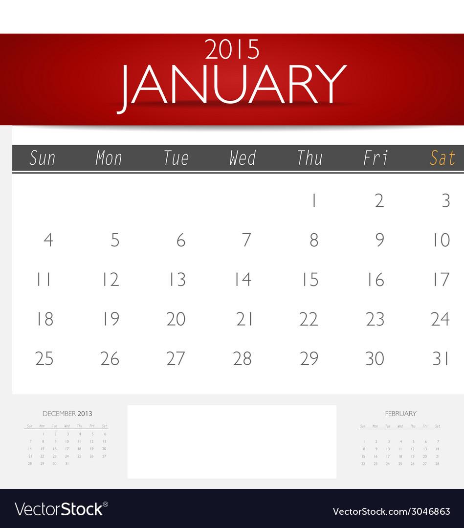 simple 2015 calendar january vector image