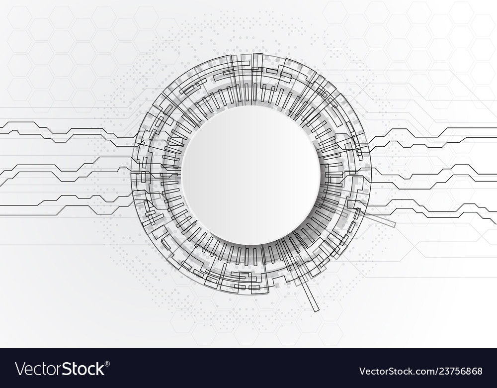 Abstract futuristic circuit board and cricle