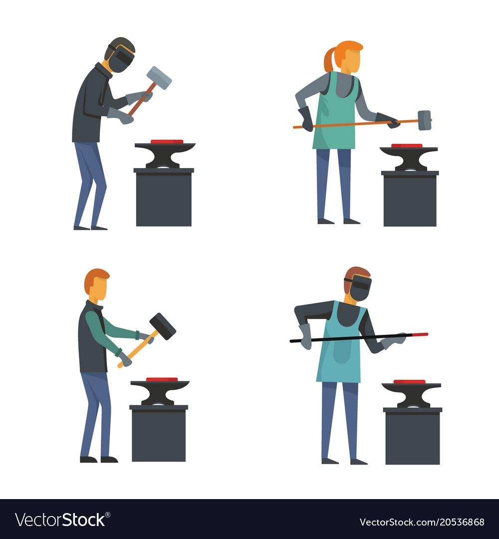 Anvil blacksmith forge icons set flat style
