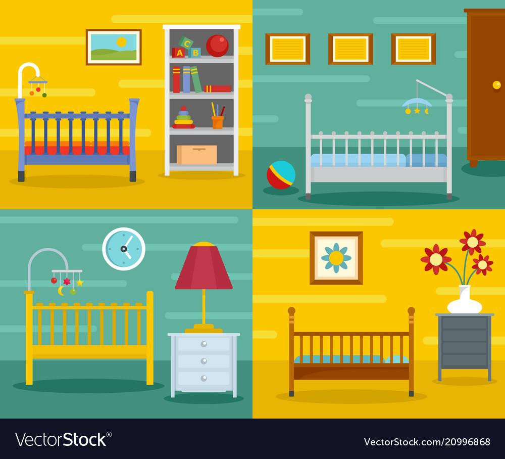 Baby crib cradle banner concept set flat style