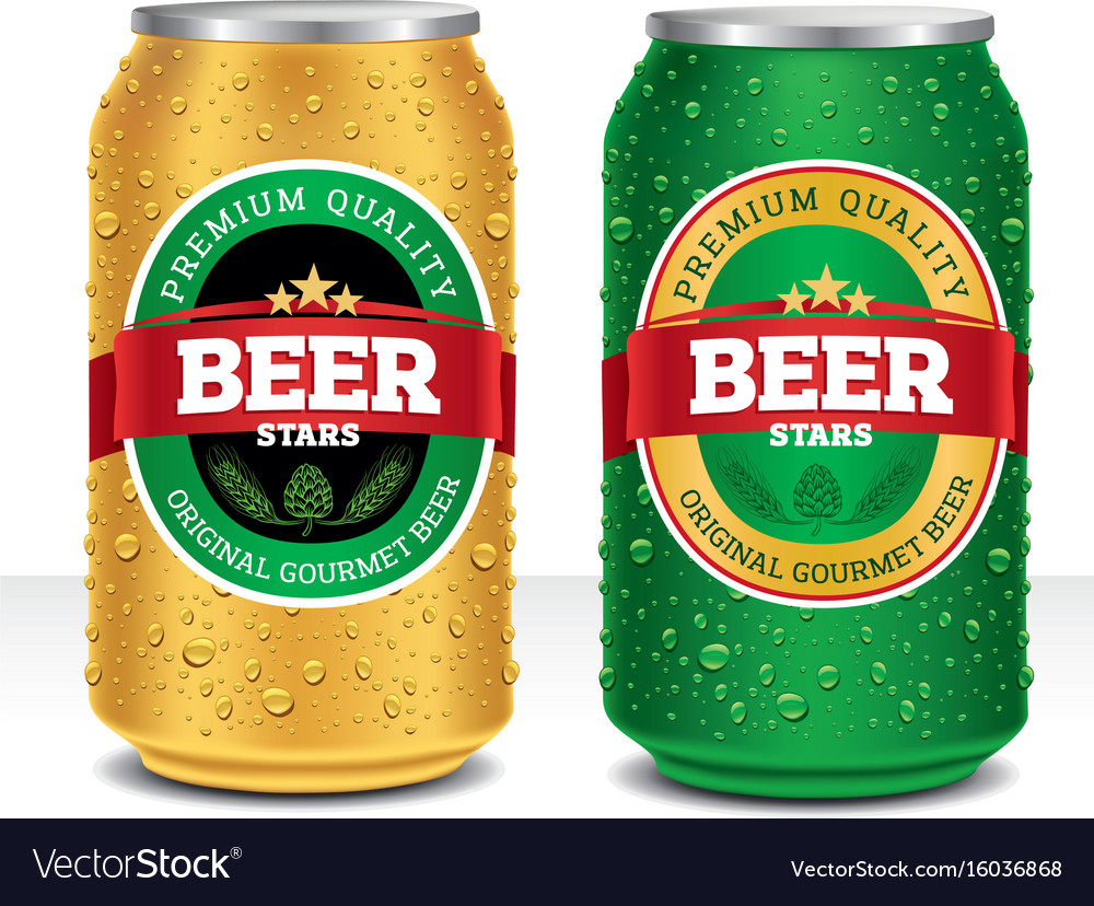 Beer can design template with many water drops