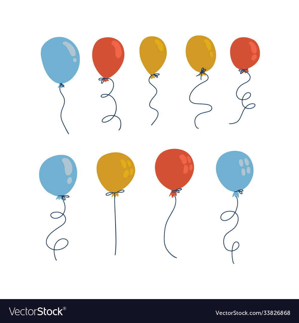 Blue yellow and red balloons in cartoon flat flat