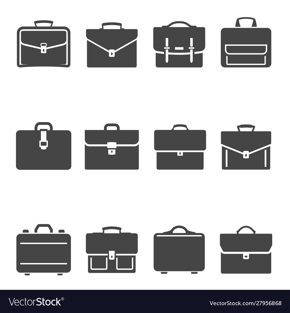 Briefcases black and white glyph icons set