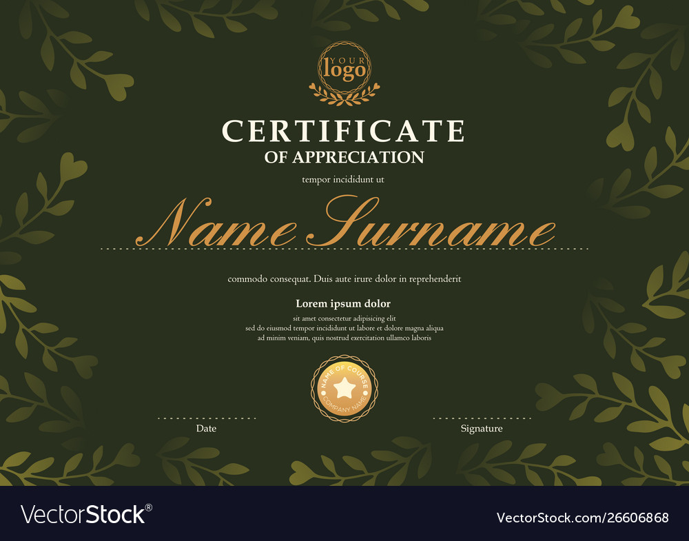 Certificate template with dark green floral leaf