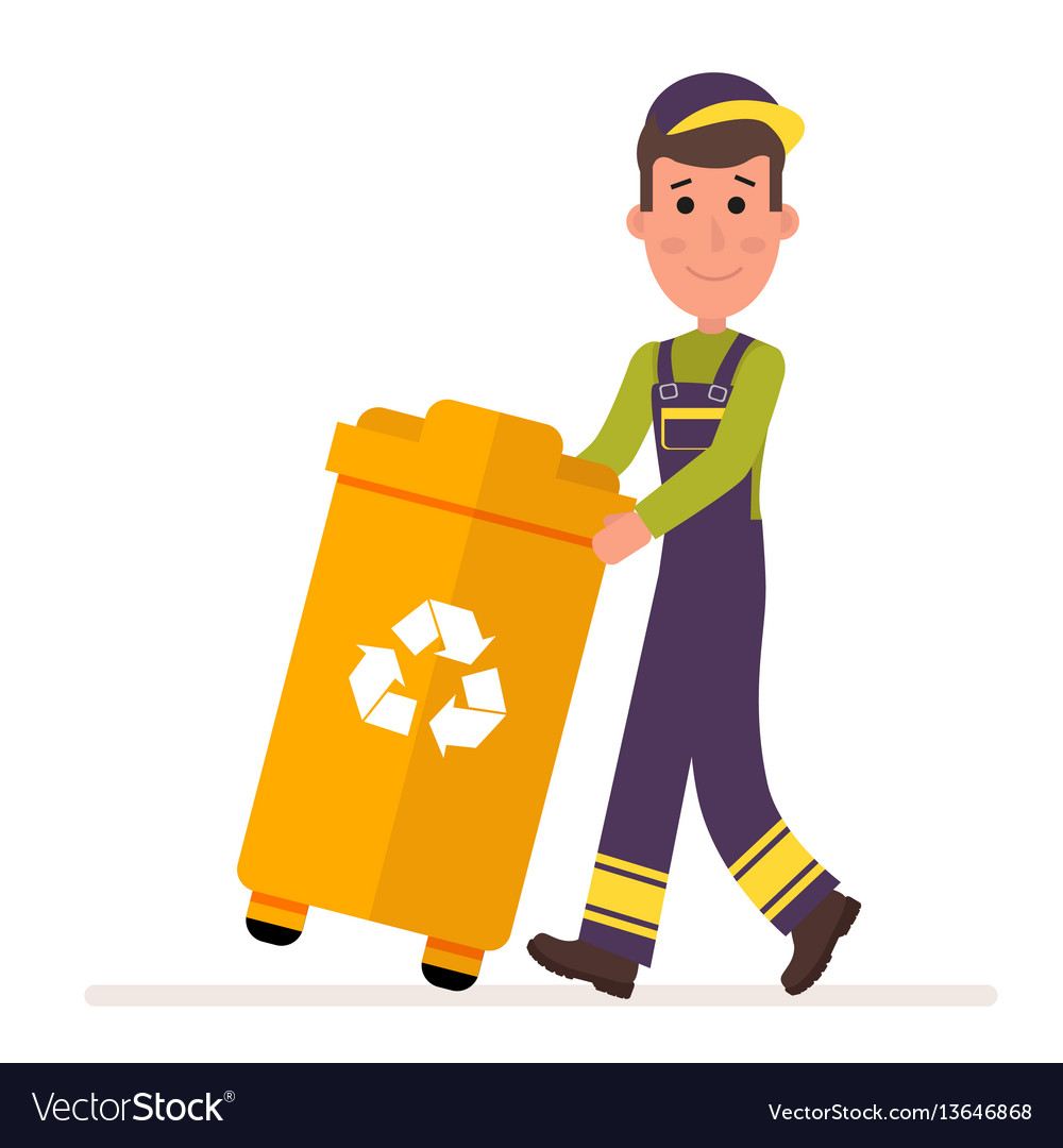 Garbage collection service man in a uniform takes vector image
