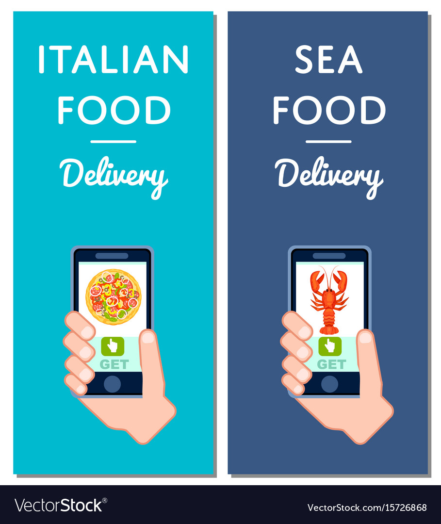Italian pizza and seafood delivery flyers