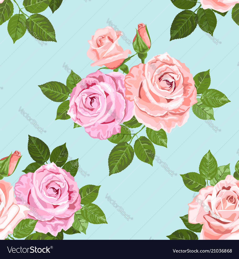 Pale pink and beige roses on the blue seamless