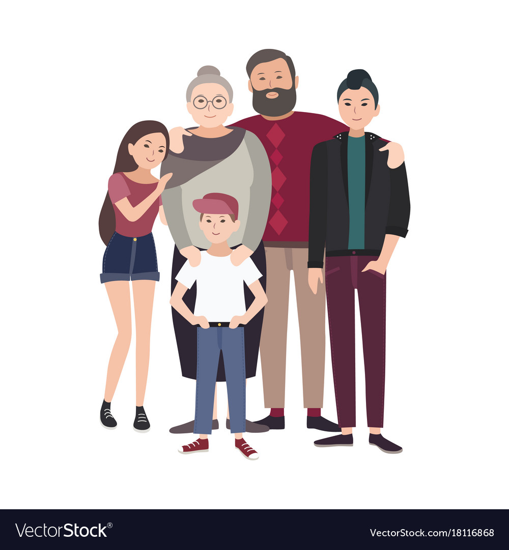 Portrait of happy family smiling grandfather