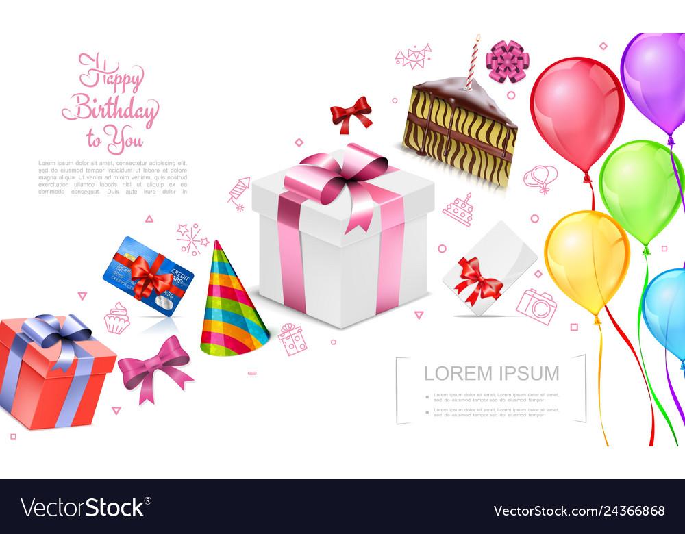 Realistic happy birthday concept