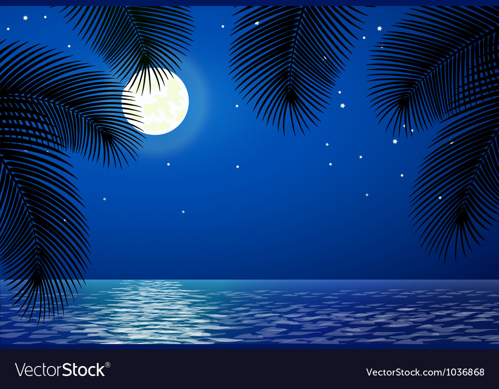 Sea landscape with the moon and palm trees