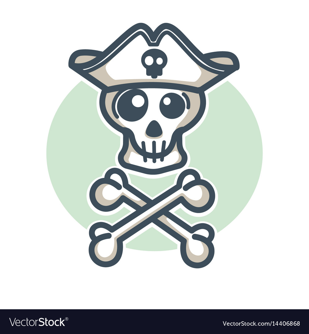 Skull in pirate hat with two crossed bones logo