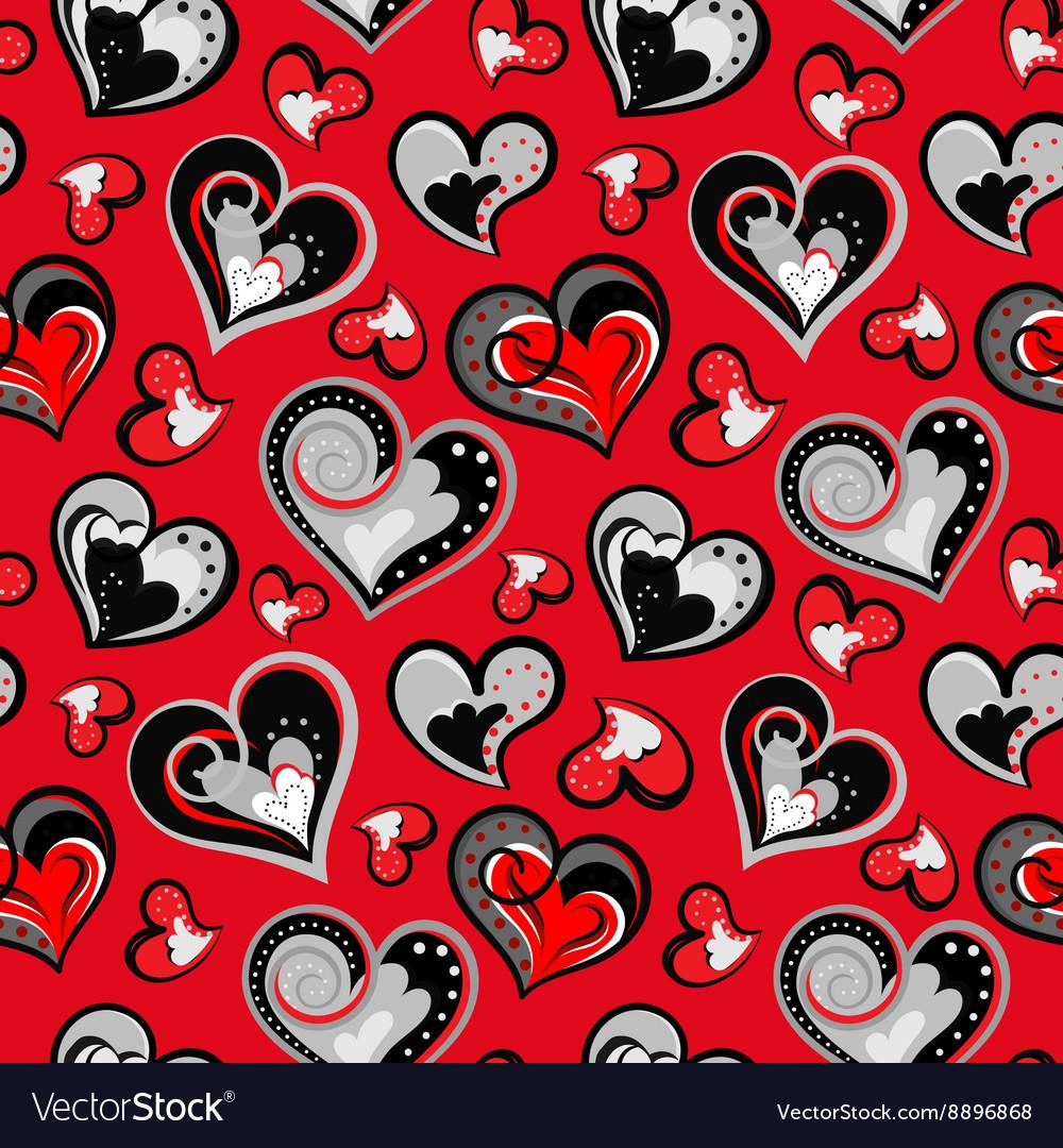 Valentine seamless hearts pattern Hand drawn