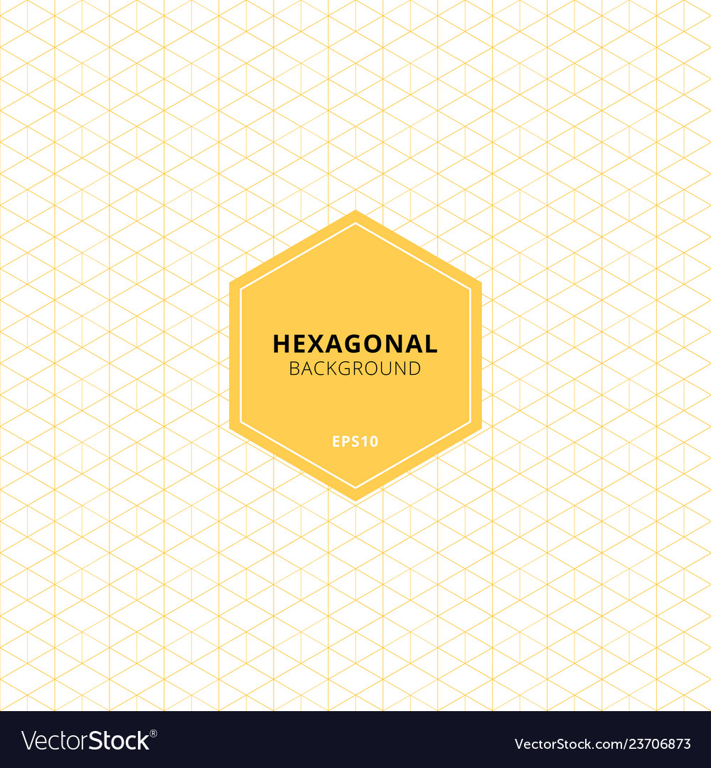 Abstract yellow hexagons pattern on white