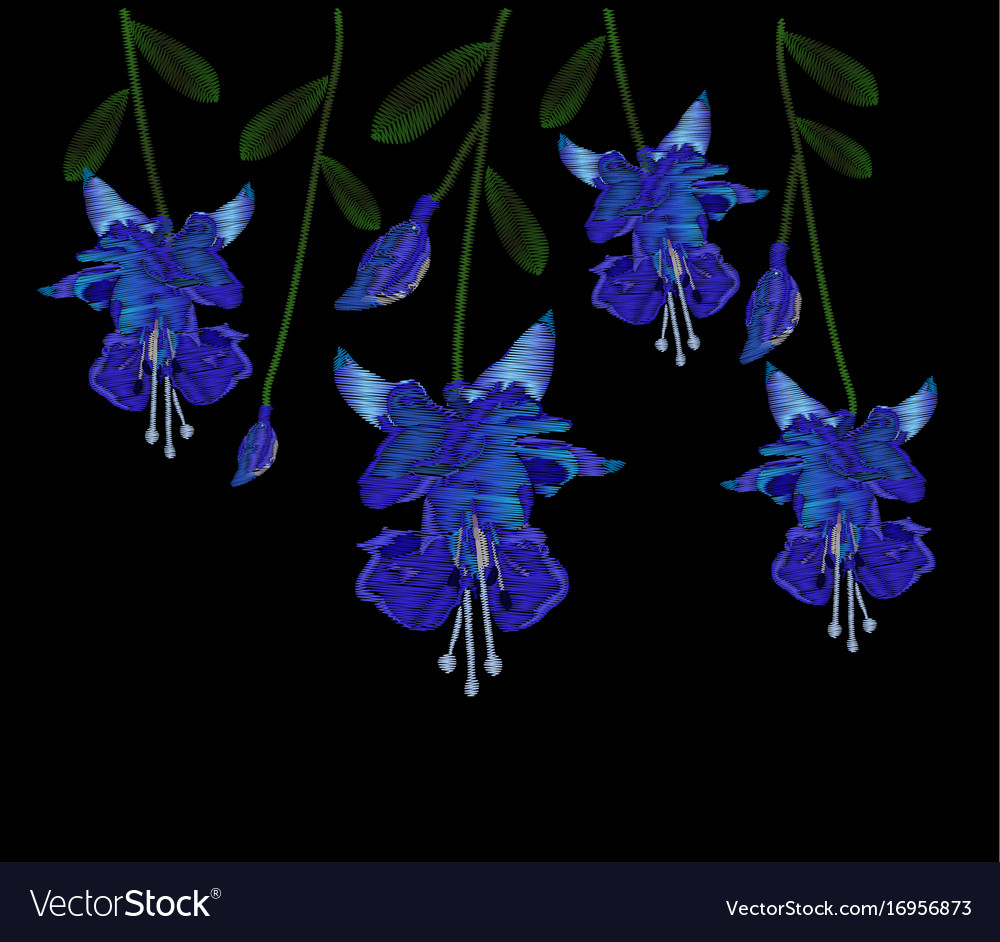Beautiful Blue Fuchsia Flowers Embroidery Of Jeans