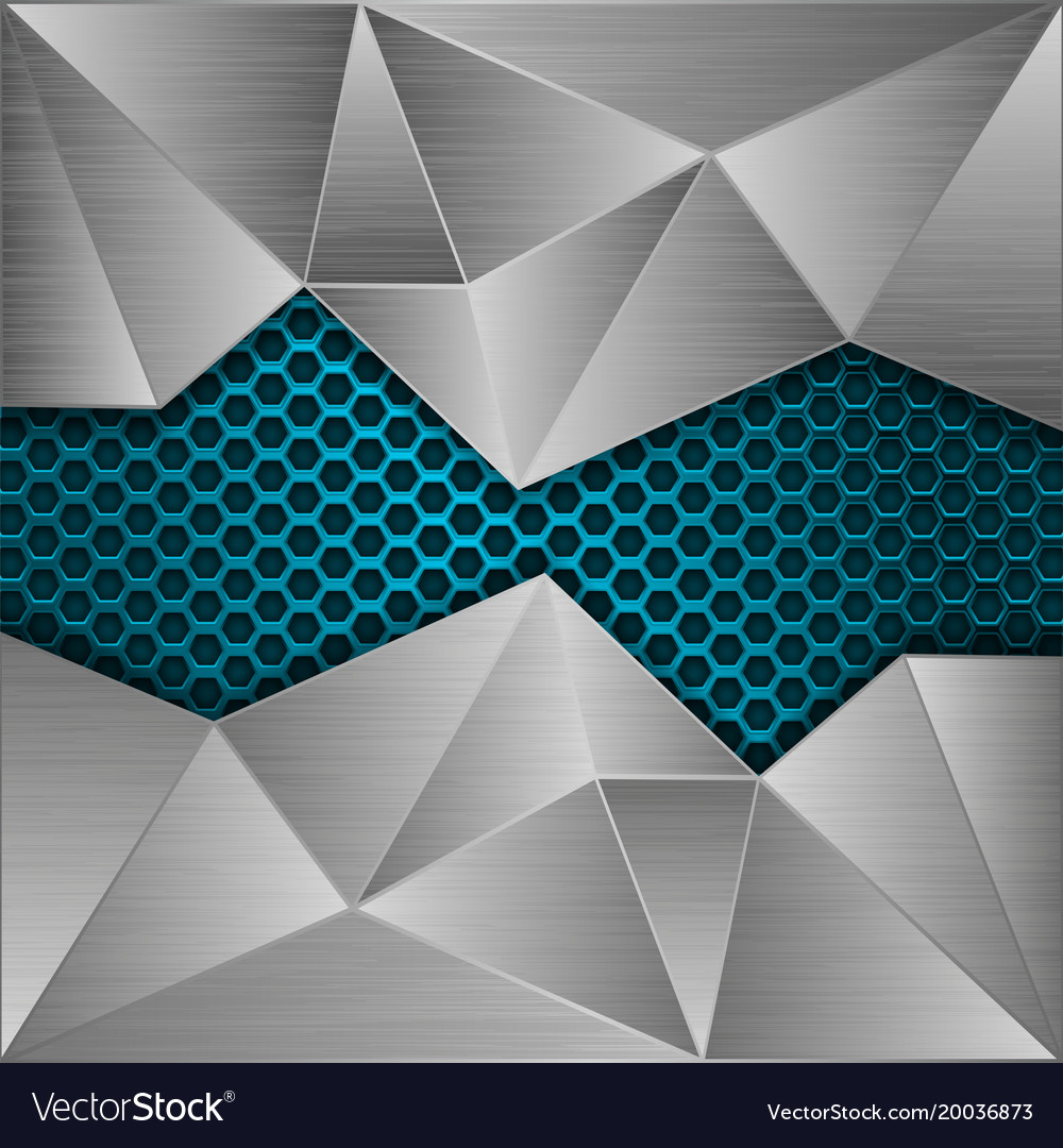 Blue metal perforated background with brushed