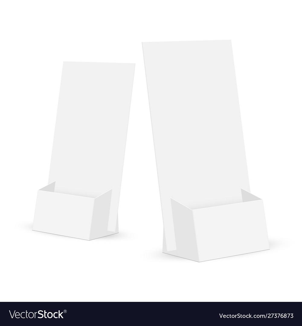 Cardboard flyer holders mockups isolated Vector Image