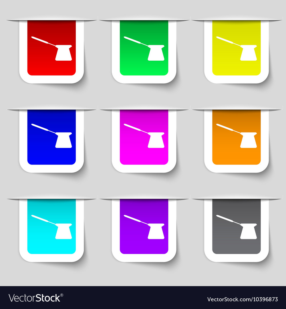 Coffee turk icon sign Set of multicolored modern