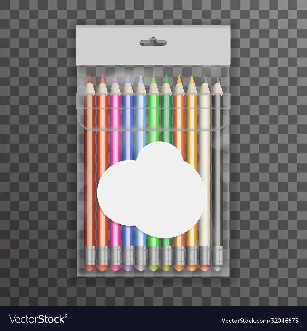 Colored pencils transparent plastic bag design