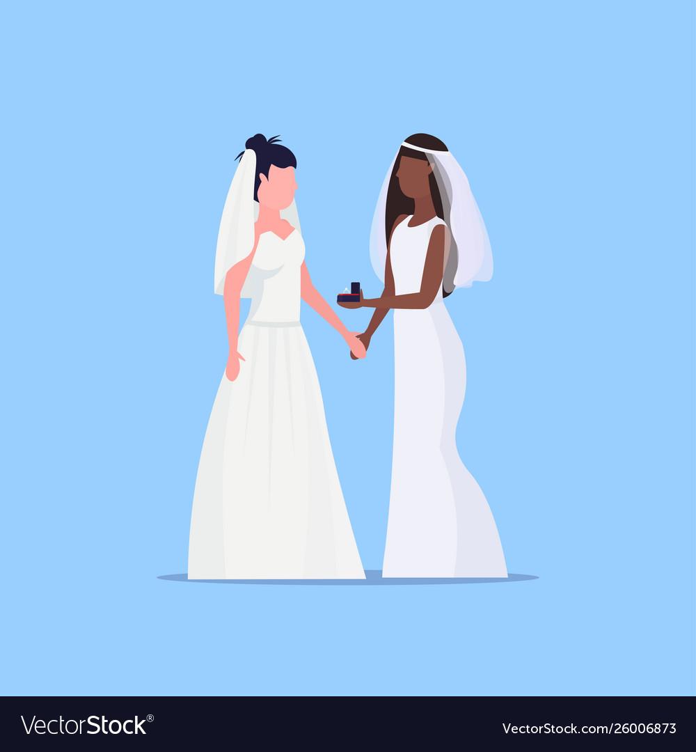 Lesbian brides couple same gender happy married