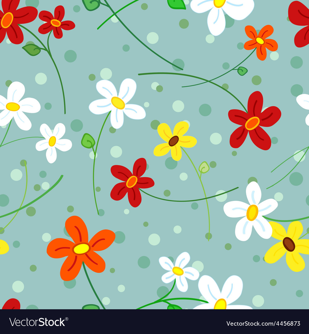 Seamless Daisy Flowers Pattern Royalty Free Vector Image