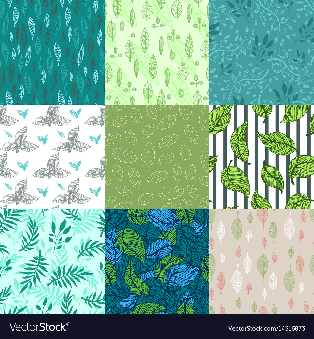 Seamless pattern nature leaves vector image