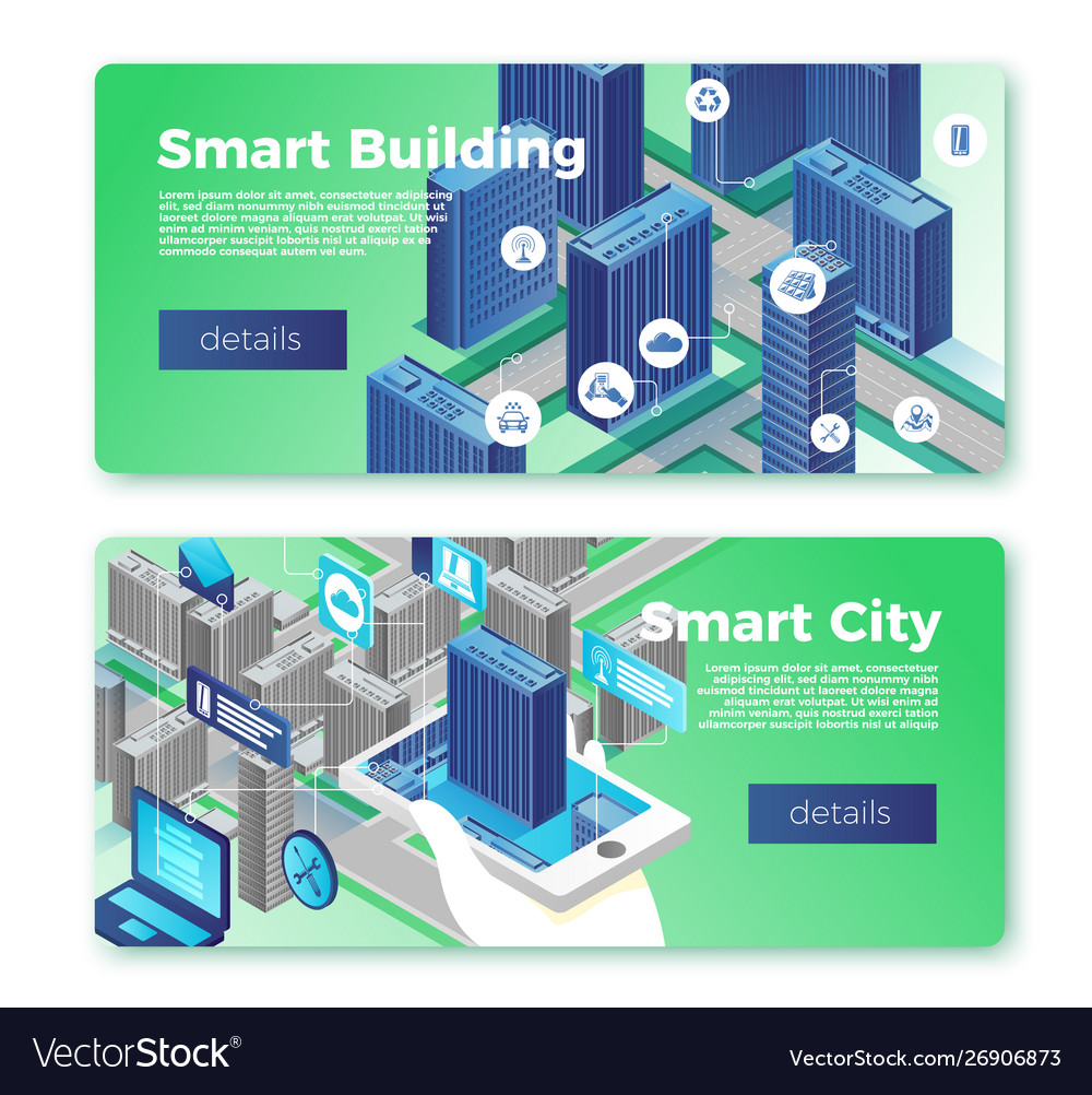 Smart city and building banner template set