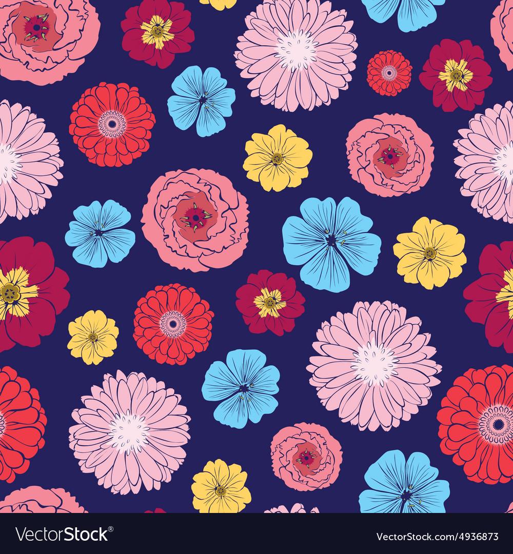 Vibrant Folk Flowers Seamless Pattern