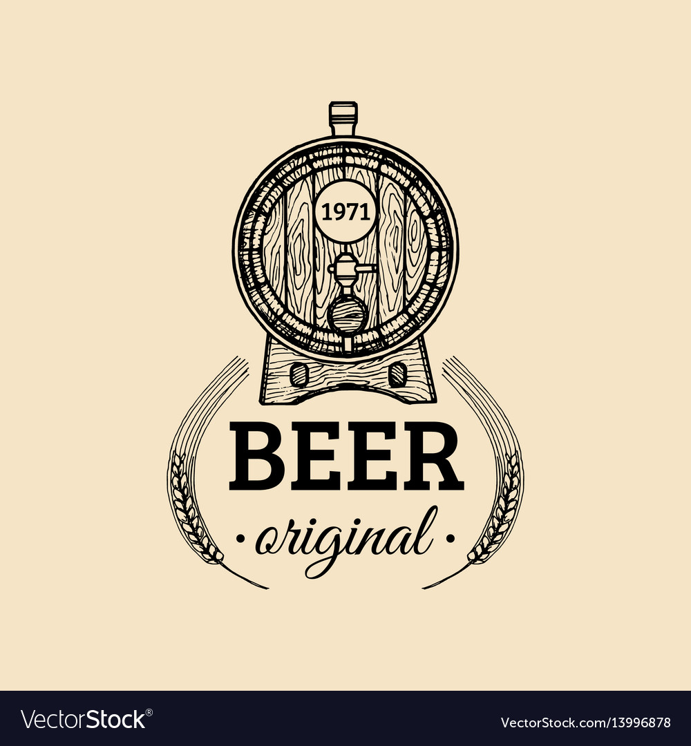 Kraft beer barrel logo old brewery icon hand