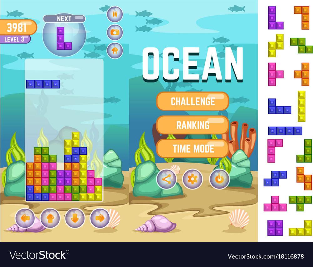 Ocean tetris matching game kit