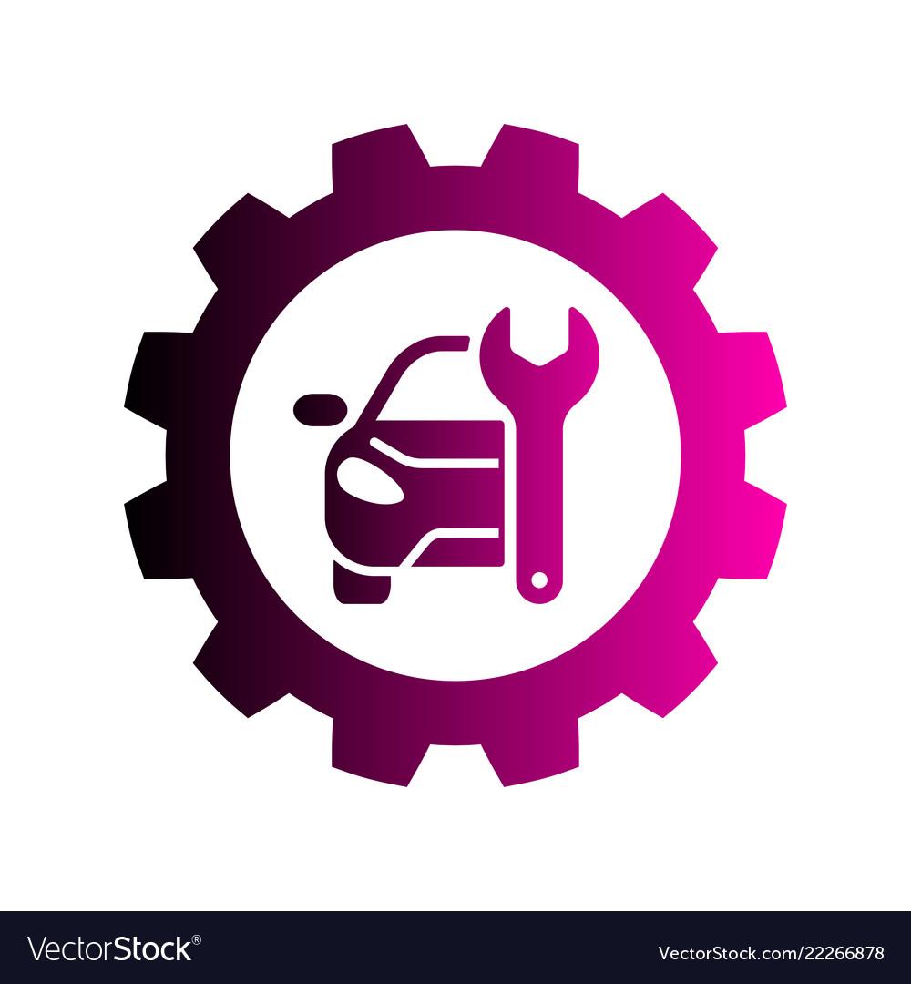 Repair car logo silhouette car gear and wrench