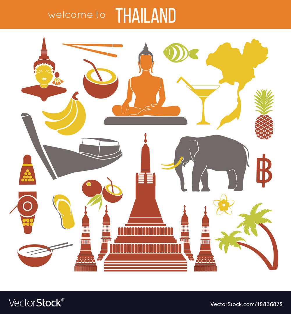 Set Of Thailand Travel Symbols And Bangkok Vector Image