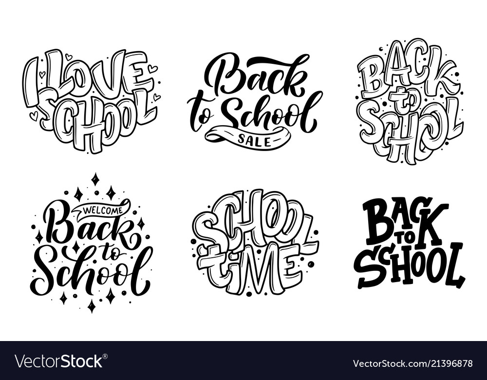 Set of welcome back to school lettering quotes