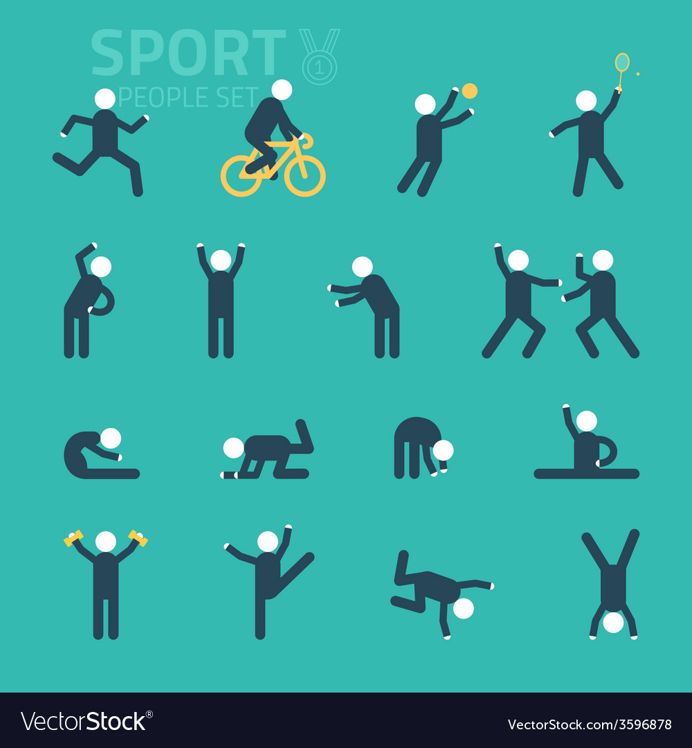 Sports and health People flat icons People play