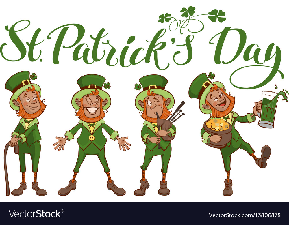 St patricks day lettering text set fun cartoon