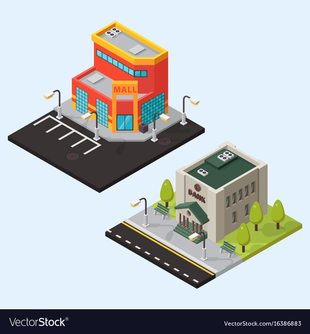 Bank and store isometric buildings isolated