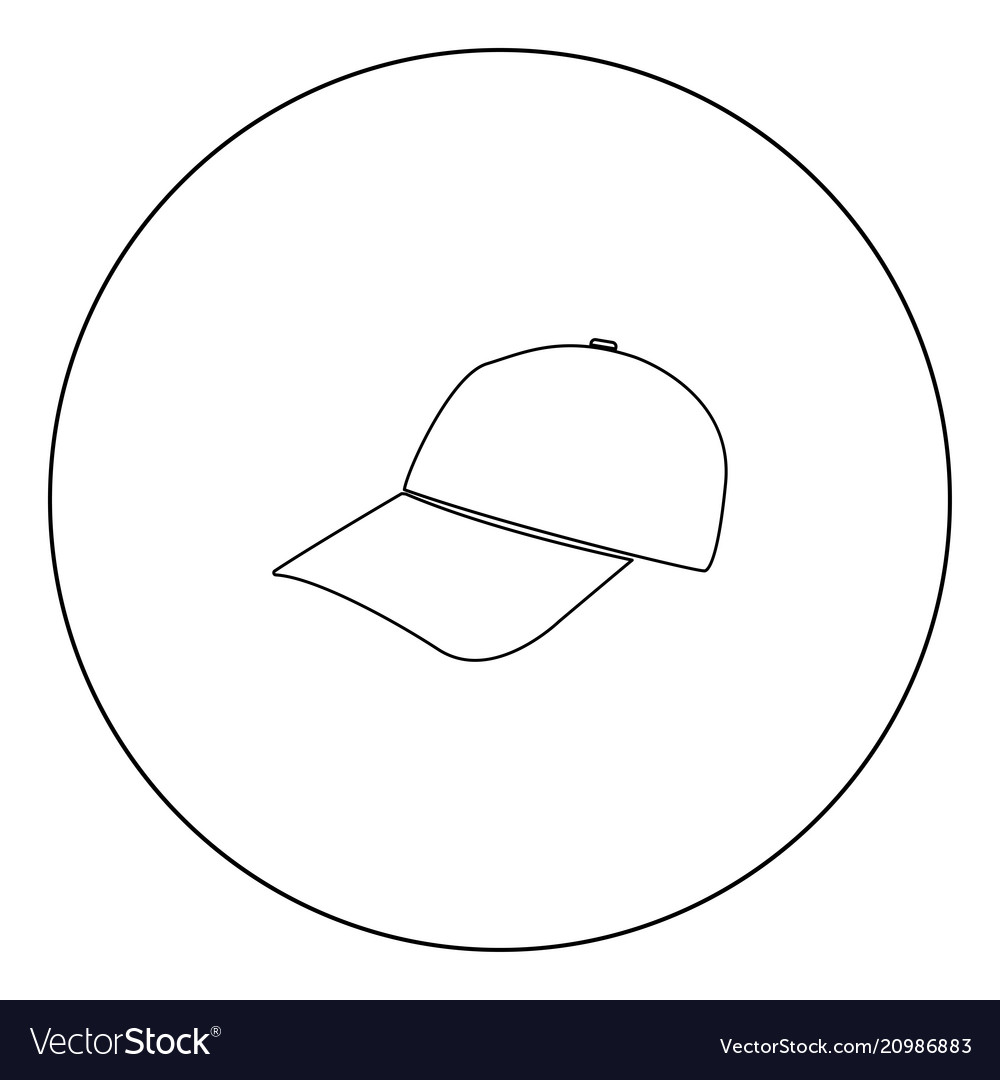 Baseball cap black icon in circle isolated