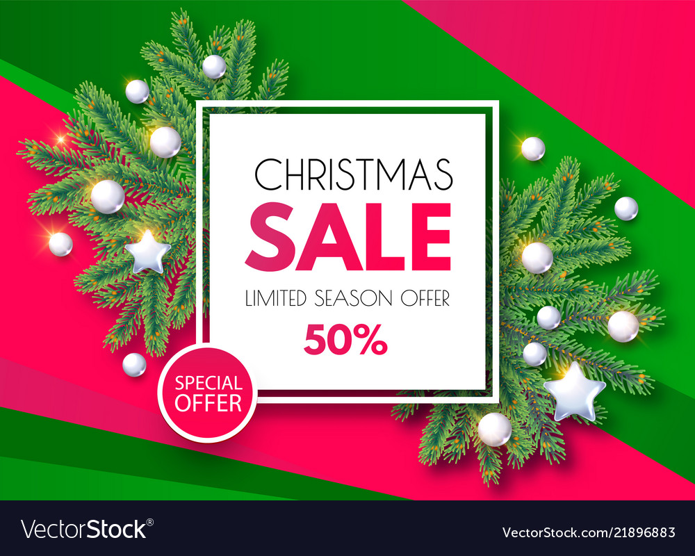 eb51bf0aae Christmas sale banner holiday background with fit Vector Image